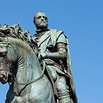 The equestrian statue of Cosimo de Medici in Florence, Italy